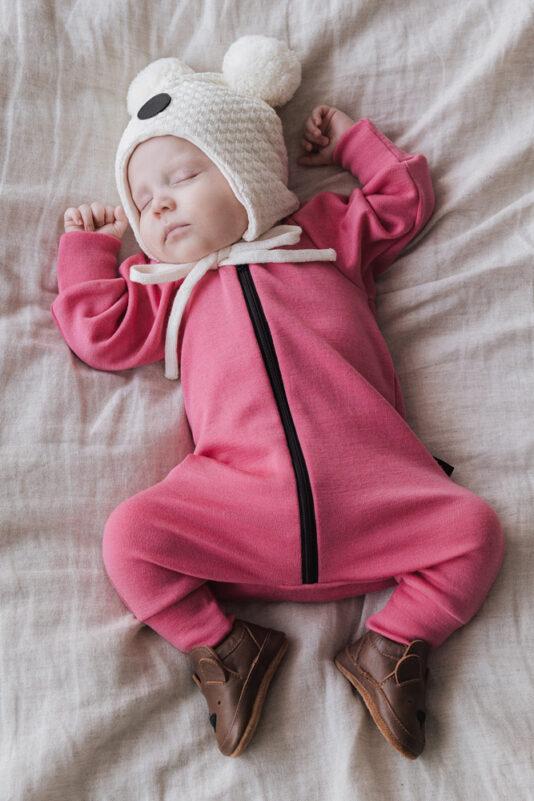 Merinovilla haalari pinkki 50/56-122/128