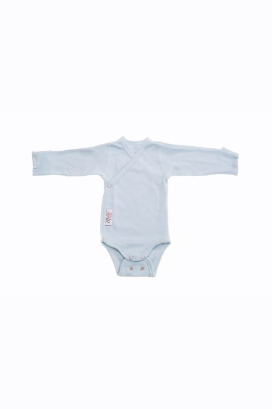Premature Baby wrap around bodysuit, light-blue
