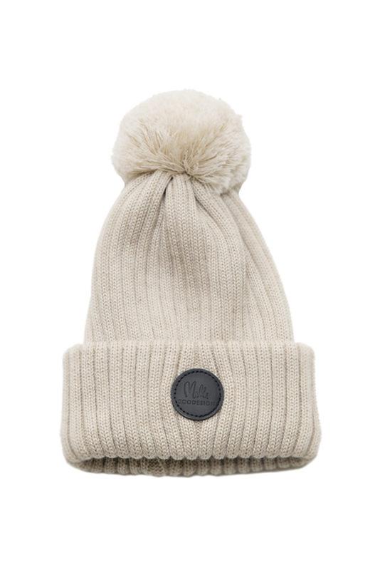 b115e155d3c Black merino wool beanie with pom-pom (5-10 y