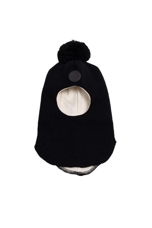 Black merino wool balaclava (6 months-7 y)