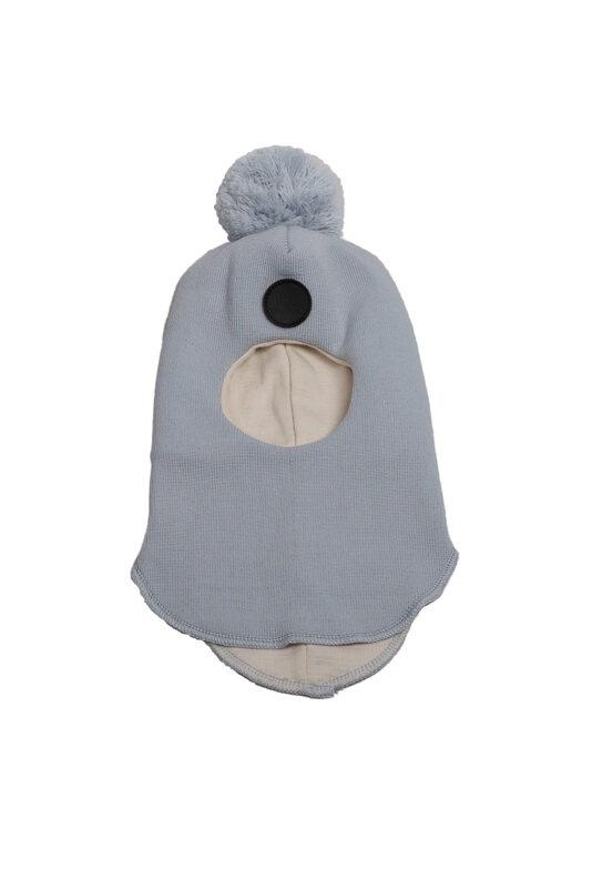 Light blue merino wool balaclava (2-7 y)