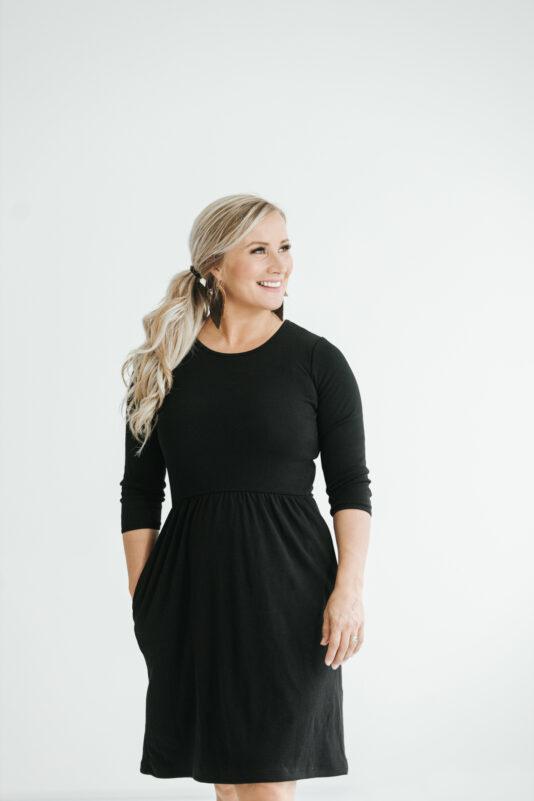 Dress with pockets black XS-XXL