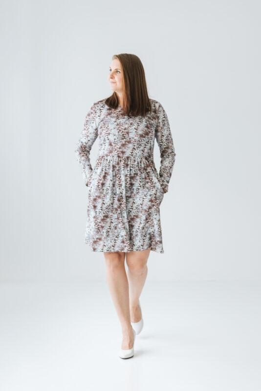 Dress with pockets Flower Star mocca XS-XXL
