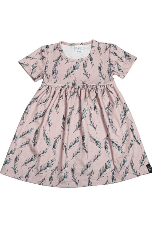 Short-sleeve dress feather rose 74/80-134/140
