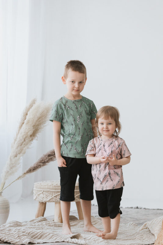 T-Shirt feather rose 86/92-146/152
