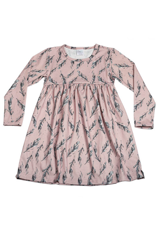 Long-sleeve dress feather rose 74/80-134/140