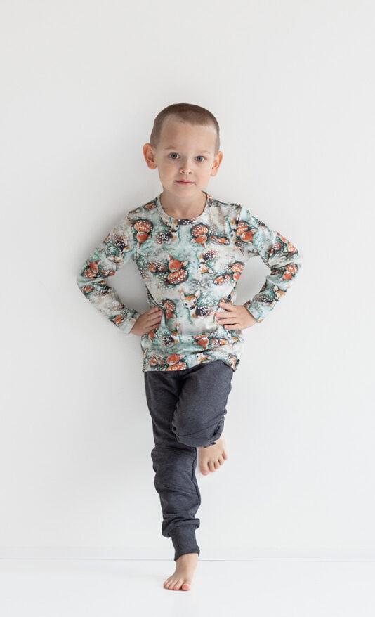 Lasten pitkähihainen paita Bambit lehtisateessa jade