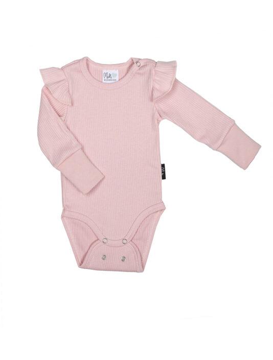 vauvan ribbi body vaaleanpunainen