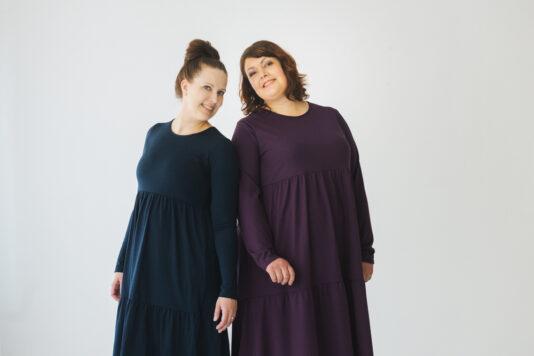 Naisten mekko luumu röyhelöhelmalla